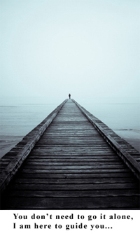 Person  alone on a pier with caption